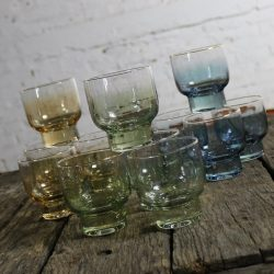 Small Footed Sapphire Emerald Topaz Ombre Cocktail Glasses Gold Rim MCM Set of Twelve