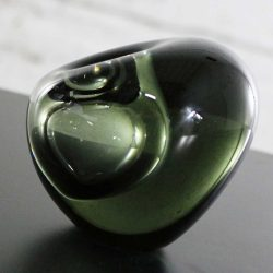 Holmegaard Glass Smoke Gray Off-Set Hulsten Krukkesten Vase by Per Lutken