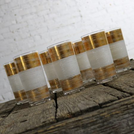 Mid Century Modern Highball Cocktail Glasses Horizontal Gold and White Bands Set of Seven