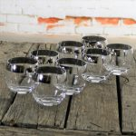 Silver Rimmed Roly Poly Cocktail Glasses Style of Dorothy Thorpe Set of Eight