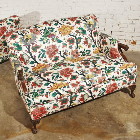 Antique Bold and Bright English Club-Style Floral Loveseat - ONLY ONE