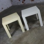 Syroco Parsons Tables White and Ivory Plastic Mid Century Modern