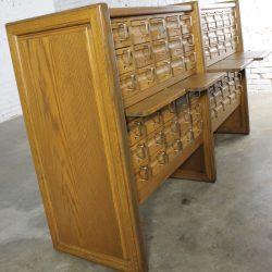 Vintage Oak 60 Drawer Library Card Catalog Cabinet