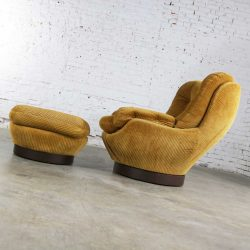 Vintage Modern Selig Swivel Chair and Ottoman Style of Joe Columbo Elda Chair