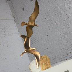 C. Jere Sculpture Metal Pair of Birds in Flight on Quartz Base Mid Century Modern