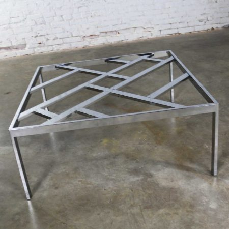 Hollywood Regency Chrome Square Glass Top Coffee Table After Milo Baughman