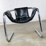 Chrome and Black Vinyl Cantilevered Sling Chair Attributed to Vecta Group Italy