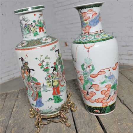 Large Antique Chinese Qing Famille Vert Porcelain Vases an Unmatched Pair