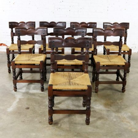 Spanish Colonial Style Dining Chairs with Rush Seats Stamped Hecho en Mexico