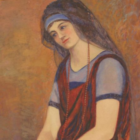 Oil Portrait of Lady in Blue Veil attributed to Lester A. Gillette circa 1920