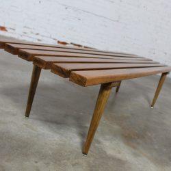 Yugoslavian Slatted Bench Coffee Table Vintage Mid Century Modern