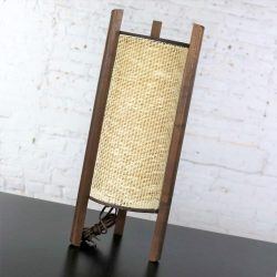 Mid Century Modern Tri Leg Woven Cylinder Table Lamp After Noguchi or Modeline