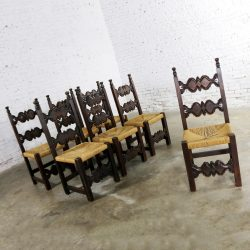 7 Spanish Revival Style Dining Chairs with Rush Seats Artes De Mexico Internacionales SA