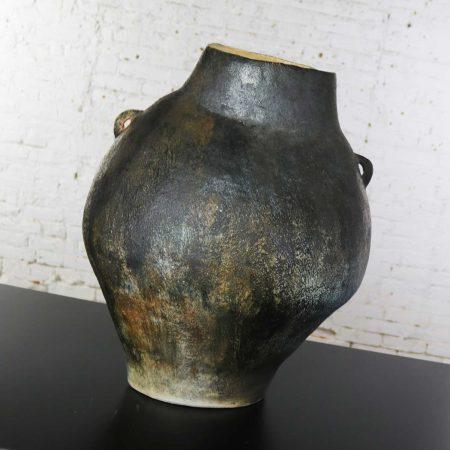 Monumental Glazed Ceramic Floor Vase Storage Jar Ovoid Double Handled Organic