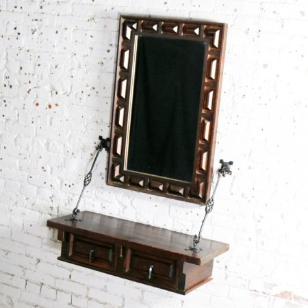 Spanish Revival Style Wall Hanging Console Table and Mirror After Artes De Mexico