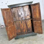 Rustic Primitive Cupboard Storage Cabinet with Distressed Paint
