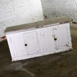 Primitive White Farmhouse Style Four Doored Buffet Cabinet with Marble Top