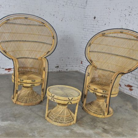Pair of Wicker Rattan Peacock Fan Back Chairs and Side Table Vintage Bohemian