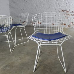 Vintage Mid-Century Modern Bertoia White Wire Side Chairs w/Blue Seat Pads Set of 4