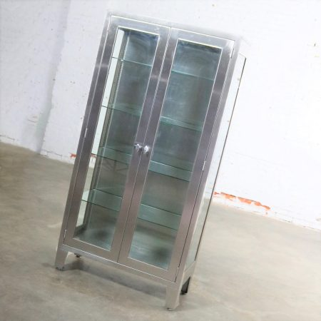 Vintage Stainless Steel Industrial Display Apothecary Medical Cabinet with Glass Doors and Shelves-3