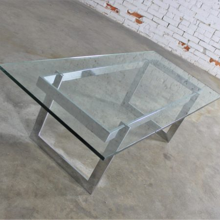 Vintage Mid Century Modern Milo Baughman Style Chrome & Glass Coffee Table