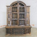 Rustic Mid Century Spanish Style Arched Top Two Piece Primitive Pine Cabinet