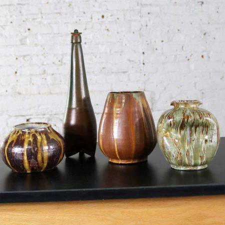 Set of 4 Pieces of Mid-Century Modern Studio Ceramic Pottery 3 Pots 1 Bottle