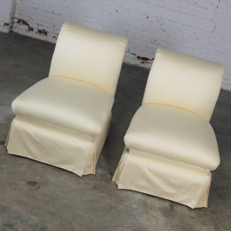 Vintage Pair Donghia Slipper Chairs in Original White Vice Versa Fabric