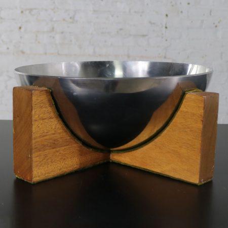 Stainless Steel Half Sphere Centerpiece Bowl on Mahogany Wood Base Mid Century Modern