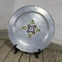 Large Hand Wrought Aluminum MW Laird Argental Tray Charger with Ceramic Tile Center