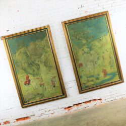 Chinese Ink and Color on Paper Framed Art a Monumental Pair