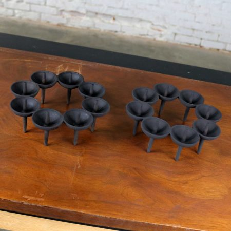 Dansk Black Iron Candle Holders by Borje Rajalin Two Pair