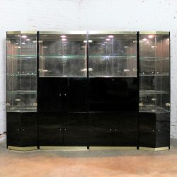 Italian Black Laminate Glass and Brass 4 Piece Modular Freestanding Wall Unit Display Cabinet