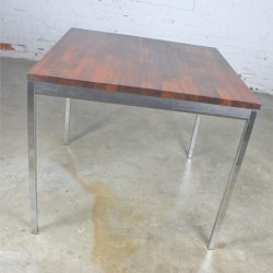 Vintage Mid-Century Modern Milo Baughman Style Chrome Rosewood & Ebony Square Card Table