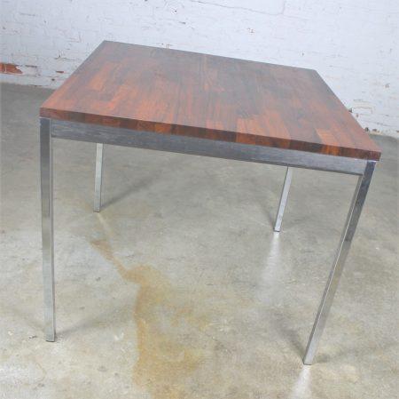 Vintage Mid-Century Modern Milo Baughman Style Chrome Rosewood & Ebony Square Card Table