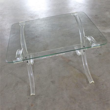 Art Deco Hollywood Regency Lucite and Glass Side Table