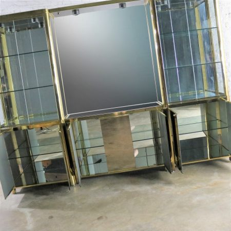 Modern Triple Lighted Vitrine or Display Cabinet in Brass Glass and Mirror Style of Ello