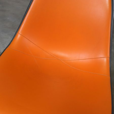 Eames PSC Orange Vinyl Upholstered Pivoting Side Shell Chair on Contract Base a Pair