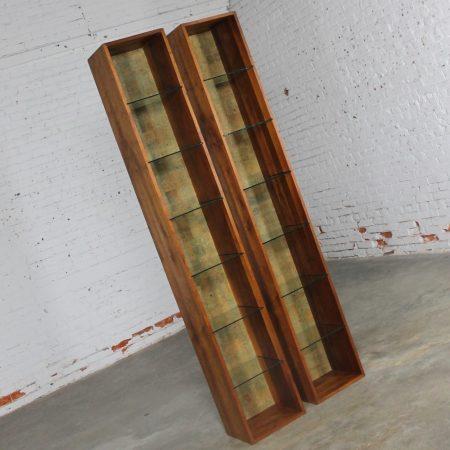 Pair Mid Century Modern Teak Column Book or Display Cases w/Glass Shelves & Cork Interior Backs