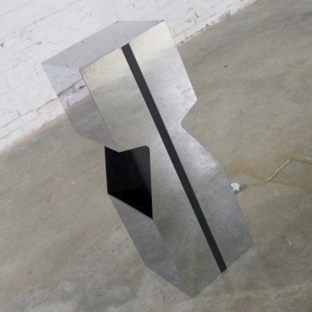 Chrome Illuminated Pedestal Magazine Rack Planter Lamp Neal Small for George Kovacs