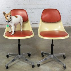 Eames Herman Miller PSCC-A-4 Pivoting Task Shell Chair Pair on Contract Base w/Casters