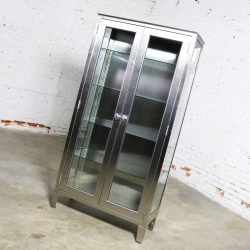 Vintage Stainless Steel Industrial Display Apothecary Medical Cabinet with Glass Doors and Shelves-5