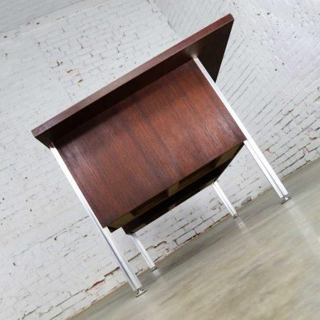 Mid Century Modern Walnut Executive Desk with Aluminum Legs