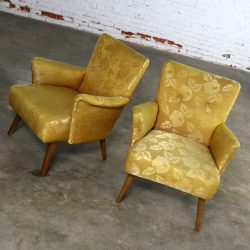 Art Deco or Art Moderne Pair of Arm Chairs in Original Gold Brocade
