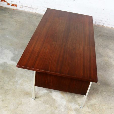 Mid Century Modern Walnut Executive Desk with Aluminum Legs