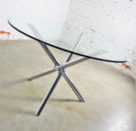 Mid-Century Modern Chrome Tripod Jacks Dining Table in the Style of Milo Baughman