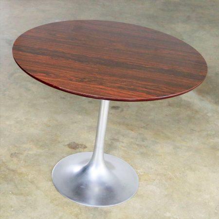 Saarinen Style Tulip Base Table in Aluminum with Woodgrain Laminate Top