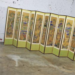 19th Century Korean 12 Panel Silk Hand Painted Folding Screen
