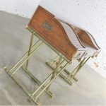 Vintage Drexel Campaign Desk with Gilt X-Base Legs and Low Roll Top