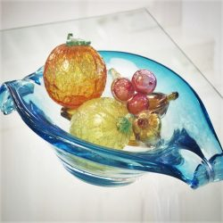 Mid Century Italian Blown Glass Sommerso Bowl w/ Assorted Fruit